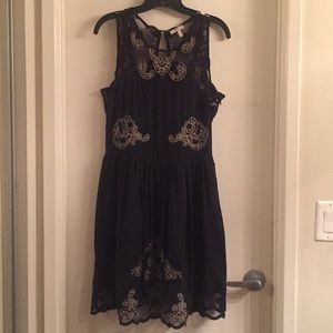 joie cocktail illusion dress with embroidery